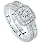 Women's 1 1/6ct Princess Cut Cushion Halo Diamond Engagement Ring Set 14K Gold