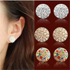 18K Gold Gp Austrian Crystal Earrings Round Studs Jewelry Ear Earrings BR1006