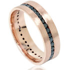 Men's 1 1/10ct Channel Set Treated Black Diamond Hand Brushed Ring 14K Rose Gold