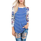Womens Floral Long Sleeve T-Shirt Loose Casual Party Striped Blouse Tops Hot