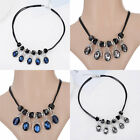 2017 Women Crystal PU Leather Rope Pendant Geometry Chain Necklace