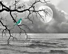 Bird On Tree Branch Moon Lake Wall Decor, Turquoise Gray Wall Art Matted Picture
