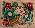 Serpentina by Chelsea Jane Old School Snake Woman Tattoo Giclee Canvas Art Print