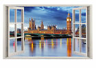STUNNING LONDON PARLIAMENT ENGLAND ENGLISH WALL DECAL WINDOW CITY SCAPE *NEW*