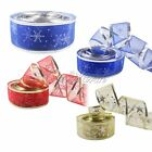 2Yard Organza Ribbons Snowflake Star Printed Christmas Party Decor Gift Wrapping