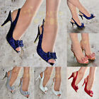LADIES SPARKLY GLITTER BOW SLINGBACK PEEP TOE HIGH HEEL COURT PARTY SHOES 3-8