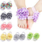 1 Pair Baby Kids Girls Infant Toddler Barefoot Foot Flower Band Sandals Socks