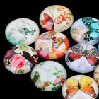 12/20mm Photo Image Flower Butterfly Round Glass Cabochon Dome Flat Back Cover