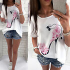 Women's Blouse Floral Print Short Sleeve Summer Casual Loose T-shirt Tops Tee