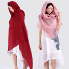 Womens Large Plain Cotton Linen Shawl Wrap Scarf Hijab Tassels big sizes Scarves