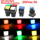 LED Light Push Button Switch Rectangular DC 12/ 24V Momentary Latching 19mm 5Pin