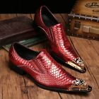 Pointed Toe England Mens Slip On Leather Shoes Stylish Business Dress Formal Hot