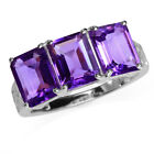 3-Stone Natural African Amethyst White Gold Plated 925 Sterling Silver Ring