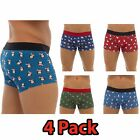 4 pack Mens Christmas Boxer shorts  Xmas Trunks Underwear Secret Santa S M L XL