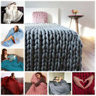 100*80 Handmade Chunky Knitted Blanket Wool Thick Line Yarn Merino Throw  Decor