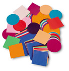 GUMMED SHAPES PACKS OF 100 - 250 CIRCLES / SQUARES IN ASSORTED COLOURS