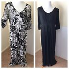 HSN Hot in Hollywood Full Length Maxi Dress 3/4 Sleeve Stretch Low Cut Size L