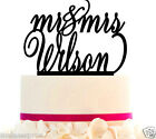 Wedding Cake Topper Mr & Mrs Personalized with Last Name, Removable Spike & base