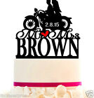 Wedding Cake Topper Custom with Your LAST NAME - Bike Silhouette - Color Choice