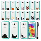 For Samsung Galaxy Core Prime G360 Animal Clear TPU Teal Bumper Case Cover + Pen