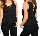 Black Skirted Lace-Up Back Sleeveless Blouse Top w/ Necklace S M L