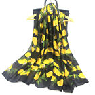 Women Chiffon Silk Scarf Lemon Printed Large Long Scarves Big Shawls 180x90cm