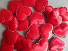 *10, 20* RED SATIN FABRIC HEARTS 20mm HEART EMBELLISHMENTS SEWING & CARD MAKING