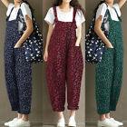 UK14-24 ZANZEA Women Loose Strappy Print Jumpsuit Overall Long Pants Baggy Plus