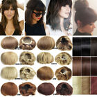 Straight Front Bridal Hair Bun Updo Real Bang Cover Hair Extensions Hairpiece