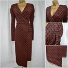 EX M&S WRAP DRESS RED BLACK ABSTRACT POLKA SPOTTY ASYMMETRICAL PARTY 6 - 22