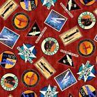 Aviator Logos Plane Travel Airline Patches Brick Red Cotton Fabric Fat Quarter