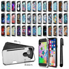 "For Apple iPhone X 5.8"" Card Pocket Brushed Hybrid Phone Case Cover + Pen"
