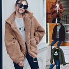 UK Women Fluffy Shaggy Faux Fur Warm Coat Cardigan Jacket Lady Outwear Tops