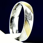Wedding Band Mens 0.06 carat CZ Stainless Steel Engagement Ring