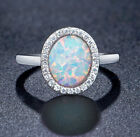 18k White Gold Plated Women Round Egg Shape Opal Wedding Ring Bridal Ring R198