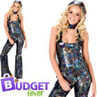 Groovy Disco Diva Womens Fancy Dress Paisley 1980s 70s Adults Costume Outfit New