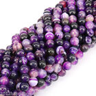 Purple Sriped Nature Agate Round Gemstone Loose Spacer Beads Stone 4/6/8/10/12mm