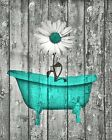 Turquoise Gray Daisy Flower Bubbles Rustic Bathroom Home Decor Wall Art Picture