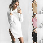 Women Lady Fashion Long Sleeves High Collared  Sweater Dress Winter Dress