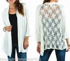 Ivory 2-Tone Floral Lace Back Open Front Cardigan/Cover-Up Plus Top