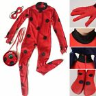 Girls Miraculous Ladybug Costume+Mask+Bag Jumpsuit Tight Fancy Dress Halloween