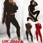 Womens Tracksuits Crop Hoodies Sweatshirt + Jogging Pants 2Pcs Sets Sports Suits