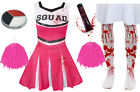 GIRLS PINK ZOMBIE CHEERLEADER CHILDS SCHOOL FANCY DRESS COSTUME HALLOWEEN TEEN