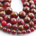 1 Strand 15'' Composited Red Natural Agate Stone Gemstone Beads 6 8 10mm