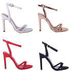 Womens Ladies Low Mid Heel Barely There Stiletto Strappy Occasion Prom Shoe Size