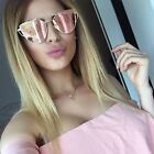 Rose Pink Large Oversized Sunglasses Cat Eye Flat Mirror Lens Women Eyewear
