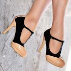 LADIES NUDE BLACK T-BAR MARY JANE HIGH STILETTO HEEL FULL TOE COURT SHOES 3-8