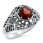 1 CT GENUINE GARNET RING 925 STERLING SILVER VICTORIAN ANTIQUE STYLE, #1089