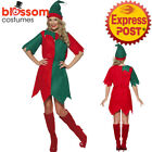 CA474 Ladies Elf Santa Helper Christmas Xmas Fancy Dress Up Costume Hat Outfit