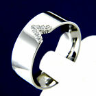 Wedding Band Stainless Steel Unisex Engagement Simulated Diamond Ring